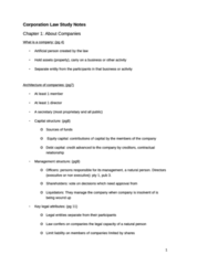 Corporation Law Study Notes (Joanne Wang) (got A in the course)