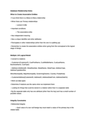 Database Relationship Notes