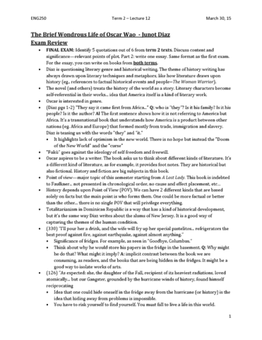 eng250y1-lecture-12-the-brief-wondrous-life-of-oscar-wao-junot-diaz-part-2-and-final-exam-review