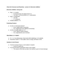 CHEM 210 Lecture Notes - Lecture 14: Sulfuric Acid, Sigma Bond, Pi Bond