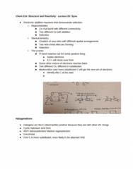 CHEM 210 Lecture Notes - Lecture 29: Pi Bond, Electrophile