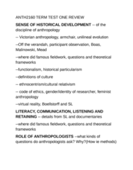 ANTH 2160 Study Guide - Midterm Guide: Unilineal Evolution, Virtual Reality, Tom Boellstorff