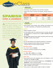 Spanish Verbs & Grammar - Reference Guides