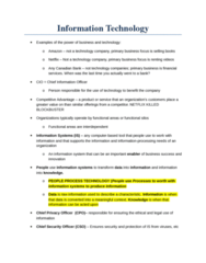 ITM 102 Lecture Notes - Lecture 1: European Cooperation In Science And Technology, Radical Change, Chief Information Officer