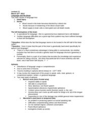 PSY384H5 Lecture Notes - Lecture 11: Arcuate Fasciculus, Corpus Callosum, Speech Perception