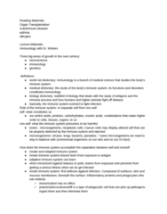 MDU 4003 Lecture Notes - Lecture 9: Medical Dictionary, Immunology, Antigen