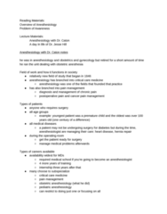 MDU 4003 Lecture Notes - Lecture 9: Intensive Care Medicine, Pain Management, Local Anesthesia