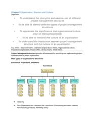 BUSI 3309 Chapter Notes - Chapter 3: Matrix Management, Organizational Culture