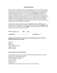 CHEM 143A Lecture Notes - Lecture 1: Lab Notebook, Graduated Cylinder, Pipette