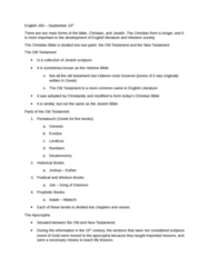 ENGL 260 Lecture Notes - Lecture 2: Torah, Tanakh, Book Of Leviticus