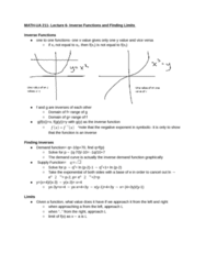 MATH-UA 211 Lecture 6: Inverse Functions and Finding Limits