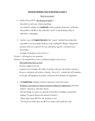 Psychology 2800E Lecture Notes - Lecture 1: Deductive Reasoning, Syllogism, Determinism
