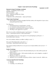 Kinesiology 95-211 Lecture 1: Chapter 1 Psych class notes