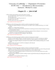 ECON 1010 Chapter Notes - Chapter 21: Labour Force Survey, Severance Package, Full Employment