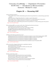 ECON 1010 Chapter Notes - Chapter 20: Net Domestic Product, Final Good, Bell Canada