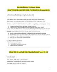 SMC103Y1 Final: Textbook notes for entire Cynthia Stewart book - The Catholic Church: A Brief Popular History