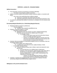 ECON 101 Lecture Notes - Lecture 10: Diminishing Returns, Economic Surplus, Marginal Utility