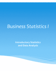 STAT 2606 Lecture Notes - Lecture 1: Standard Deviation, Size 14, Frequency Distribution