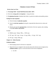 CHEM 1F92 Lecture Notes - Lecture 10: Chemical Equation, Strong Electrolyte, Spectator Ion