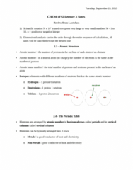 CHEM 1F92 Lecture Notes - Lecture 3: Nitrite, Ion, Chlorate