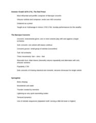 MUS 1301 Lecture Notes - Lecture 4: Red Priest, Ritornello, Antonio Vivaldi