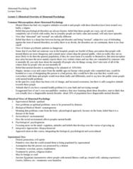 Psychology 2310A/B Midterm: Abnormal Psychology 2310B- Midterm Notes