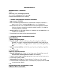 REAL 1820 Lecture Notes - Lecture 14: Business Plan, Financial Statement, Capitalization Rate
