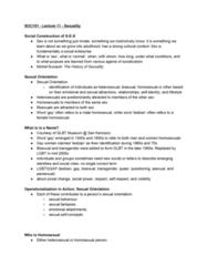 SOC101Y1 Lecture Notes - Lecture 11: Michel Foucault, Social Enterprise, Heterosexuality