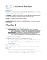 Economics 1021A/B Study Guide - Midterm Guide: Inferior Good, Deadweight Loss, Technological Change