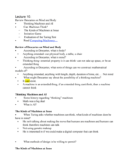 34-110 Lecture Notes - Lecture 10: Thinking Machines Corporation, Turing Test