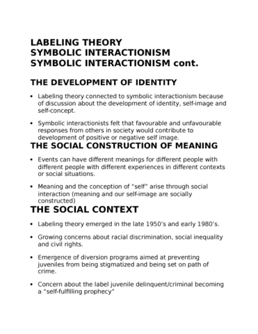 Crim 104 Lecture 10 Labelling Theory Symbolic Interactionism