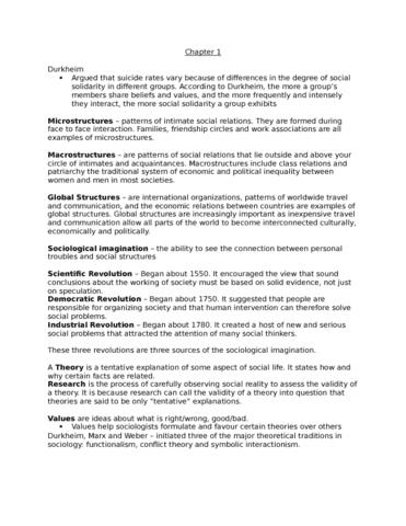 Sociology 1020 Midterm Sociology 1020 Midterm 1 Notes Textbook