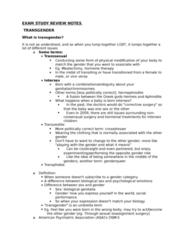 SOCIOL 3U03 Study Guide - Final Guide: Sex Reassignment Surgery, List Of Forgotten Realms Deities, Dysphoria