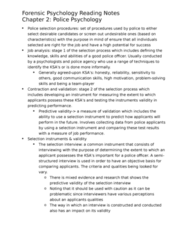 PSYC 2400 Chapter Notes - Chapter 2-14: Predictive Validity, Police Psychology, Mental Health Law