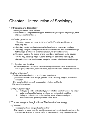 sociology cliff notes