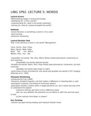 LING 1P92 Lecture Notes - Lecture 5: Psycholinguistics, Arson, Lexeme