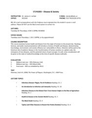 CT203 Lecture Notes - Lecture 1: Malaria, Graduate Management Admission Test, Cholera