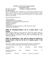 RLGA01H3 Study Guide - Final Guide: Glocalization, Guru Granth Sahib, Talal Asad