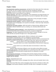 PSYC 3P60 Chapter Notes - Chapter 2: Developmental Cognitive Neuroscience, Evolutionary Developmental Psychology, Behavioural Genetics