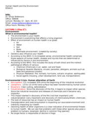 EESA10H3 Lecture Notes - Lecture 99: Environmental Health, Industrial Revolution, Geosphere
