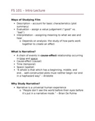 FS101 Lecture Notes - Lecture 1: Narration, National Technical Research Organisation