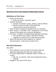 FS101 Lecture Notes - Lecture 2: Classical Hollywood Cinema, Diegesis, Formal System