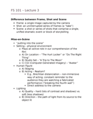 FS101 Lecture Notes - Lecture 3: The Hurt Locker, Do The Right Thing, Tracking Shot