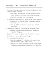 SOCI 10100 Lecture Notes - Lecture 18: Public Sociology, The Sociological Imagination