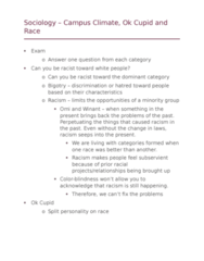 SOCI 10100 Lecture Notes - Lecture 10: Okcupid, Color Blindness