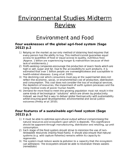ES 200 Study Guide - Midterm Guide: Intensive Animal Farming, Productivism, Crop Yield