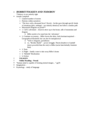 ENG239H5 Lecture Notes - Lecture 3: Thorin Oakenshield, Hobbit, World War I