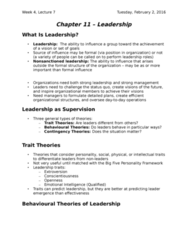 HROB 2100 Lecture Notes - Lecture 6: Fiedler Contingency Model, Situational Leadership Theory, Trait Theory