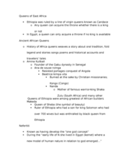 AFRO 005 Lecture Notes - Lecture 3: Hatshepsut, Yaa Asantewaa, Amina