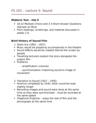 FS101 Lecture Notes - Lecture 5: Sound Film, Diegesis, Ub Iwerks